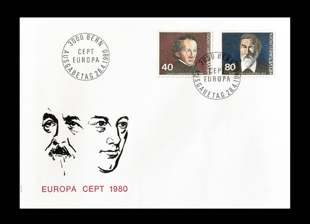europa: Cancelled First Day Cover letter printed by Switzerland, that shows Europa CEPT stamps, circa 1980. Editorial