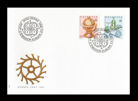 europa: Cancelled First Day Cover letter printed by Switzerland, that shows Europa CEPT stamps, circa 1983.