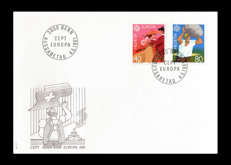 europa: Cancelled First Day Cover letter printed by Switzerland, that shows Europa CEPT stamps, circa 1981.