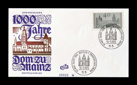 first day: Cancelled First Day Cover letter printed by Germany, that shows Mainz, circa 1975. Editorial