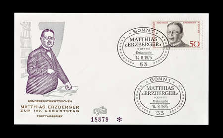 matthias: Cancelled First Day Cover letter printed by Germany, that shows Matthias Erzberger, circa 1975.