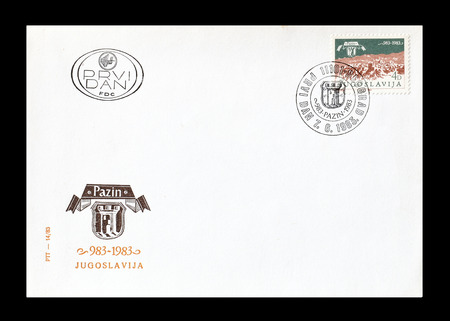 first day: Cancelled First Day Cover letter printed by Yugoslavia, that shows Pazin, circa 1983.
