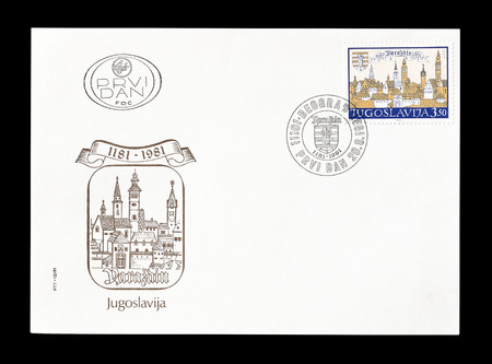 yugoslavia: Cancelled First Day Cover letter printed by Yugoslavia, that shows Varazdin, circa 1981. Editorial