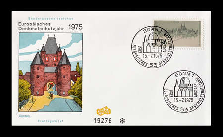 first day: Cancelled First Day Cover letter printed by Germany, that shows Xanten, circa 1975. Editorial