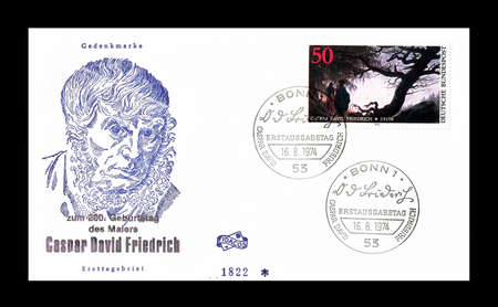 caspar: Cancelled First Day Cover letter printed by Germany, that shows Caspar Friedrich, circa 1975.
