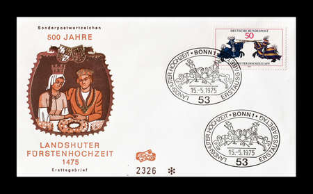 first day: Cancelled First Day Cover letter printed by Germany, that shows Knights, circa 1975.
