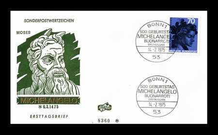 first day: Cancelled First Day Cover letter printed by Germany, that shows Michelangelo, circa 1975. Editorial