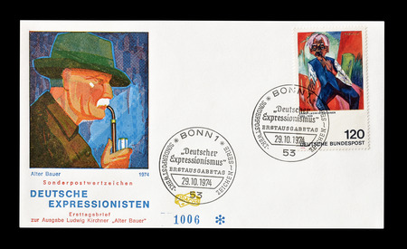 alter: Cancelled First Day Cover letter printed by Germany, that shows painting by Alter Bauer, circa 1974.