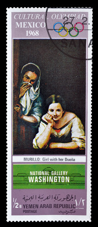 murillo: Cancelled postage stamp printed by Yemen, that shows painting by Murillo, circa 1968.