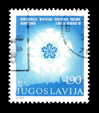 aligned: Cancelled postage stamp printed by Yugoslavia, that shows Non aligned Countries Conference logo, circa 1978.