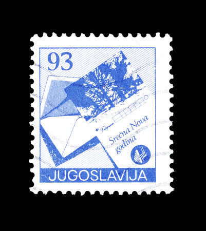 telegrama: Cancelled postage stamp printed by Yugoslavia, that shows Open envelope and greetings telegram form, circa 1987.