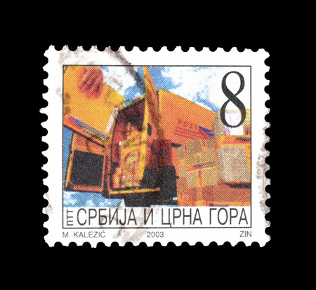 serbia and montenegro: Cancelled postage stamp printed by Serbia and Montenegro, that shows Mail van, circa 2003.