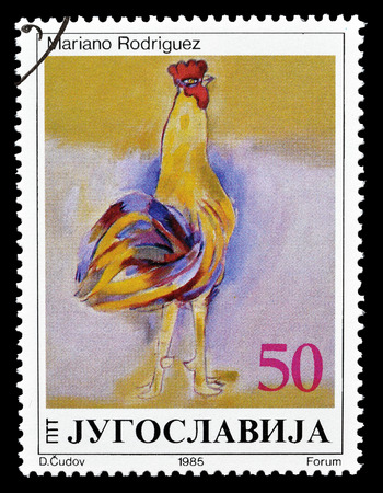 mariano: Cancelled postage stamp printed by Yugoslavia, that shows painting by Mariano Rodriguez, circa 1985.