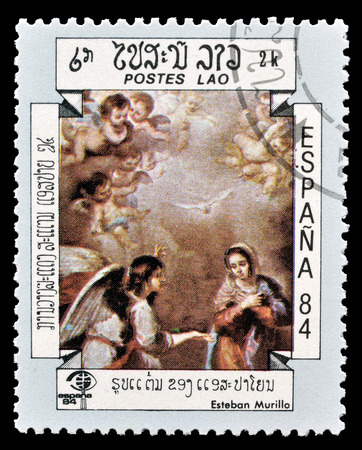 murillo: Cancelled postage stamp printed by Laos, that shows painting by Esteban Murillo, circa 1984. Editorial