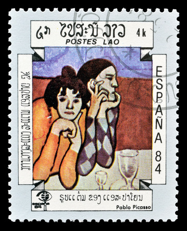 Cancelled postage stamp printed by Laos, that shows painting by Pablo Picasso, circa 1984.