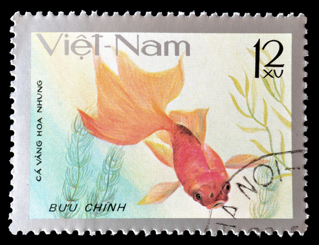 Cancelled postage stamp printed by Vietnam, that shows Velvet fish, circa 1977.