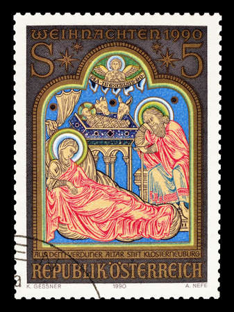 motive: Cancelled postage stamp printed by Austria, that shows religious motive, circa 1990.
