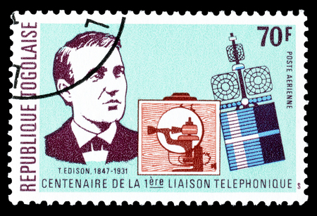 edison: Cancelled postage stamp printed by Togo, that shows Edison, circa 1976.