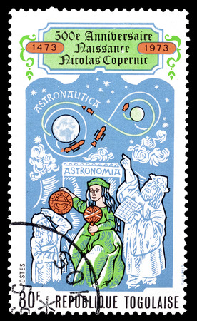 copernicus: Cancelled postage stamp printed by Togo, that shows Nicolaus Copernicus, circa 1973. Editorial