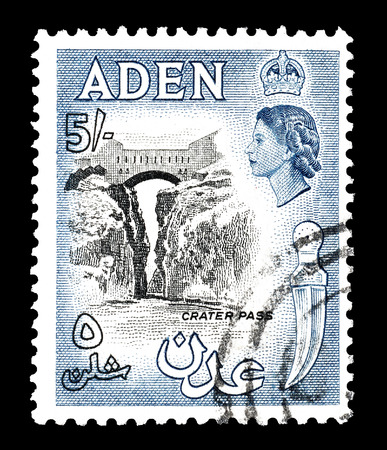 aden: Cancelled postage stamp printed by Aden, that shows Crater pass, circa 1956.