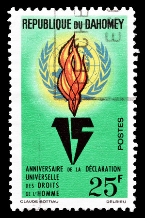 nations: Cancelled postage stamp printed by Dahomey, that shows  United Nations emblem and flame, circa 1963. Editorial