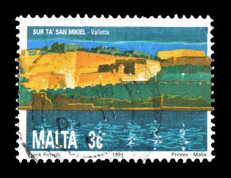 saint michael: Cancelled postage stamp printed by Malta, that shows Bastion of Saint Michael in Valletta, circa 1991.
