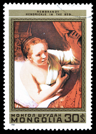 rembrandt: Cancelled postage stamp printed by Mongolia, that shows Painting by Rembrandt, circa 1981.