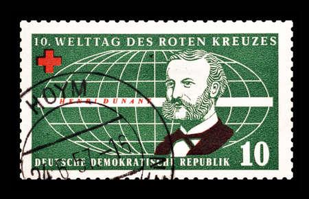 henri: Cancelled postage stamp printed by German Democratic Republic, that shows Henri Dunant, circa 1957.