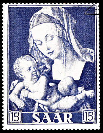 durer: Cancelled postage stamp printed by Saar, that shows painting by Durer, circa 1954. Editorial