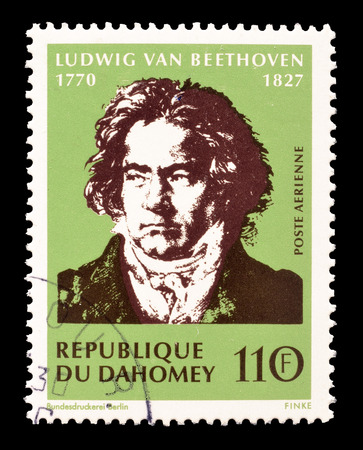 beethoven: Cancelled postage stamp printed by Dahomey, that shows Ludwig Van Beethoven, circa 1970.