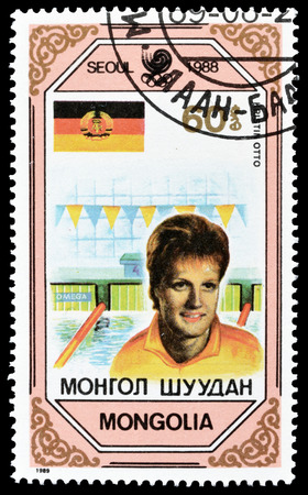 otto: Cancelled postage stamp printed by Mongolia, that shows Kristin Otto, circa 1989.