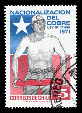 bandera chilena: Cancelado sello impreso por Chile, que muestra el minero y los chilenos de la bandera, alrededor del año 1971.