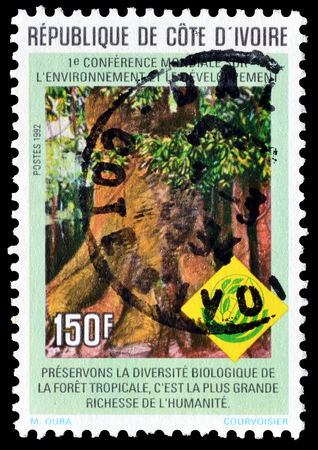 Cancelled postage stamp printed by Ivory Coast, that shows Tropical tree, circa 1992.