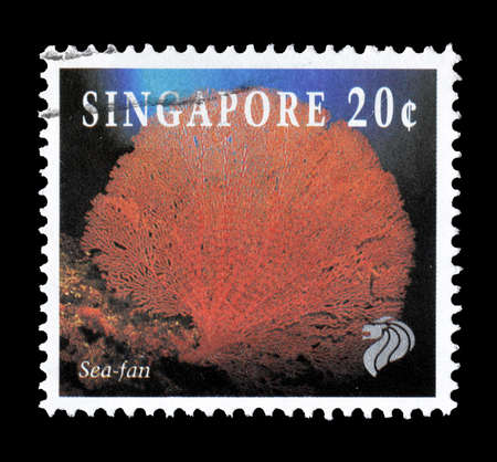 sea fan: Cancelled postage stamp printed by Singapore, that shows Sea fan, circa 1994. Editorial