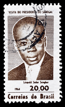 leopold: Cancelled postage stamp printed by Brazil, that shows Leopold Sedar Senghor, circa 1964. Editorial