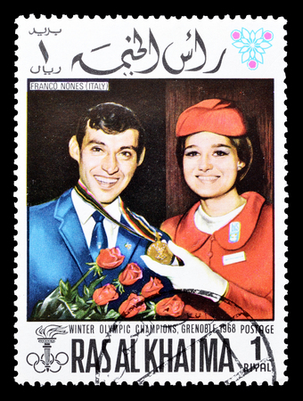 ras: Cancelled postage stamp printed by Ras Al Khaima, that shows Franco Nones, circa 1968. Editorial