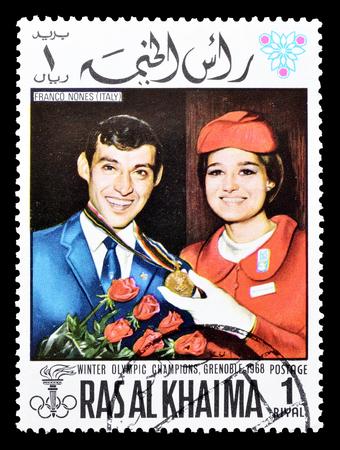 khaima: Cancelled postage stamp printed by Ras Al Khaima, that shows Franco Nones, circa 1968. Editorial