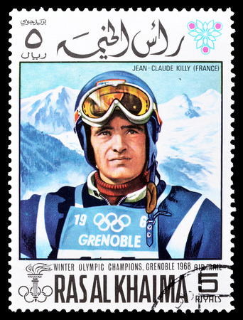 khaima: Cancelled postage stamp printed by Ras Al Khaima, that shows  Jean Claude Killy, circa 1968. Editorial