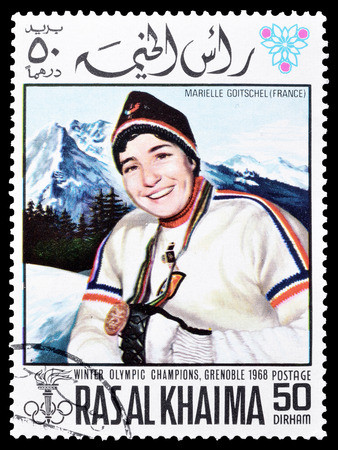 khaima: Cancelled postage stamp printed by Ras Al Khaima, that shows  Marielle Goitschel, circa 1968. Editorial