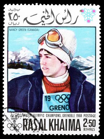 khaima: Cancelled postage stamp printed by Ras Al Khaima, that shows  Nancy Green, circa 1968.