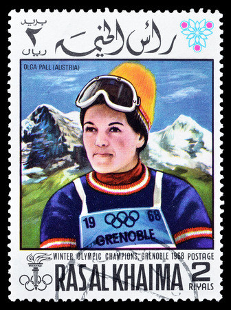 khaima: Cancelled postage stamp printed by Ras Al Khaima, that shows  Olga Pall, circa 1968. Editorial