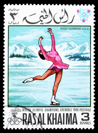 khaima: Cancelled postage stamp printed by Ras Al Khaima, that shows  Peggy Flemming, circa 1968.