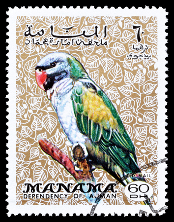 periquito: Cancelled postage stamp printed by Manama, that shows Parakeet, circa 1970. Editorial