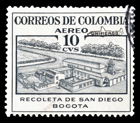 retreat: Cancelled postage stamp printed by Colombia, that shows Retreat of San Diego, circa 1954.