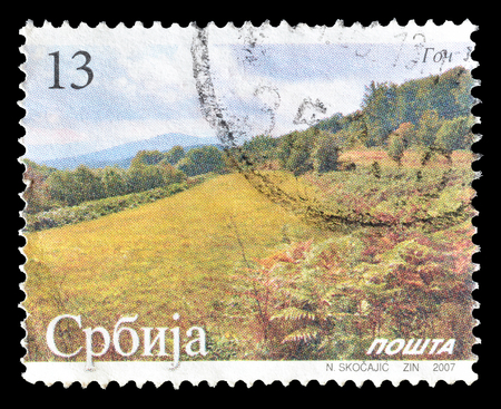 serbia landscape: Cancelled postage stamp printed by Serbia, that shows landscape at mountain Goc, circa 2007.