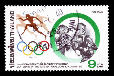 postage: Cancelled postage stamp printed by Thailand, that shows Boxing, circa 1994.