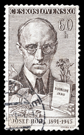 josef: Cancelled postage stamp printed by Czechoslovakia, that shows Josef Hora, circa 1961.