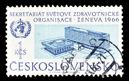 czechoslovakia: Cancelled postage stamp printed by Czechoslovakia, that shows WHO headquarter in Geneva, circa 1966.