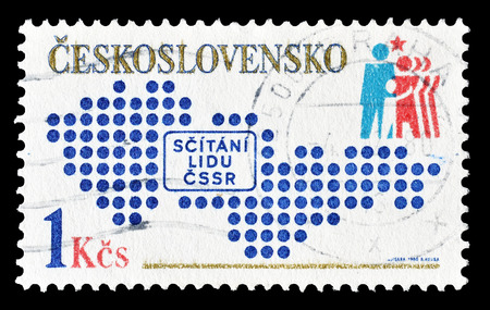 census: Cancelled postage stamp printed by Czechoslovakia, that shows National census, circa 1980. Editorial