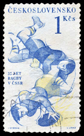 czechoslovakia: Cancelled postage stamp printed by Czechoslovakia, that shows Rugby, circa 1961.
